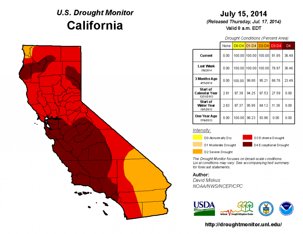 ca drought map-july 2014