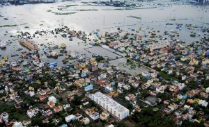 Chennai: An aerial photo of flood relief operation by Indian Coast Guard at flood affected areas of Kanchipuram District on the outskirt of Chennai on Tuesday. PTI Photo(PTI11_17_2015_000055B)