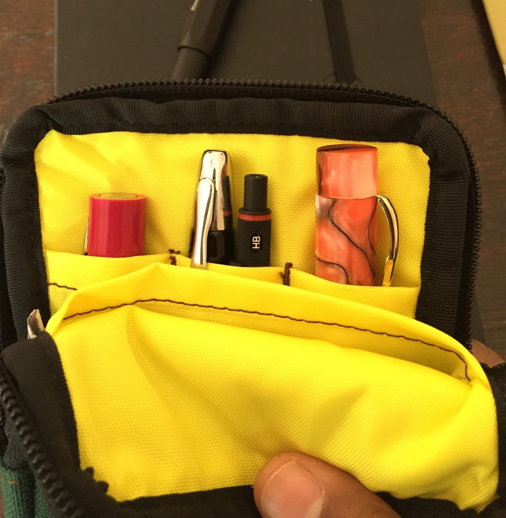 NockCo Sinclair pouch with Pilot, Ranga and Sheaffer fountain pens and Rotring 600 mechanical pencil